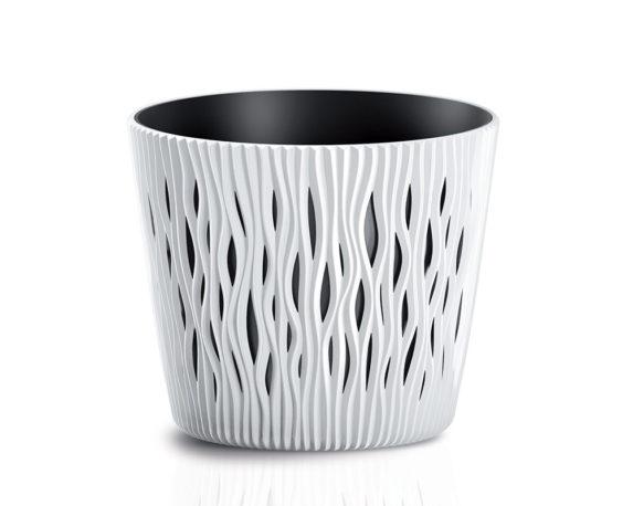 Vaso Sandy C/inserto D26cm Bianco