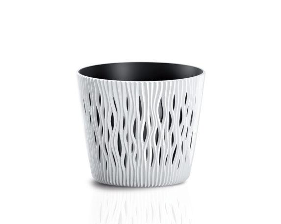 Vaso Sandy C/inserto D16cm Bianco