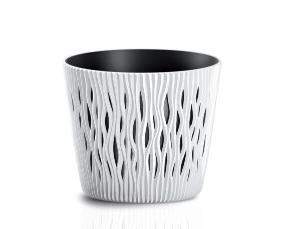 Vaso Sandy C/inserto D22cm Bianco