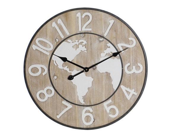 Orologio Parete Mappamondo Legno