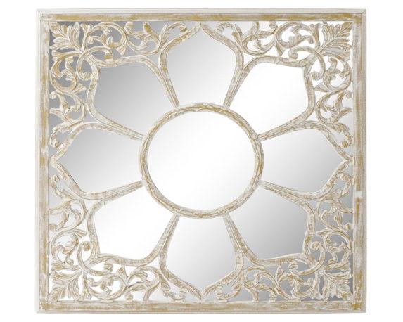 Specchio Quadrato Mandala Legno Decapato