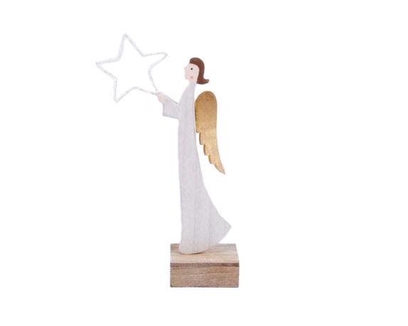 Angelo C/stella Led Legno Bianco