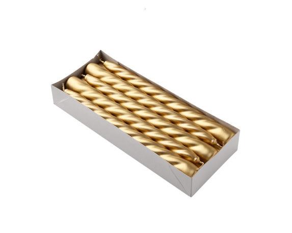 Box 10 Candele Coniche Oro H23 Cm