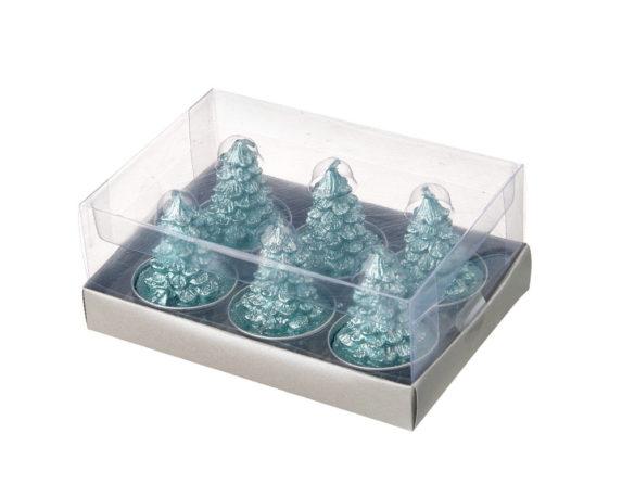 Box 6pz Porta Tealight C/alberelli Glitterati